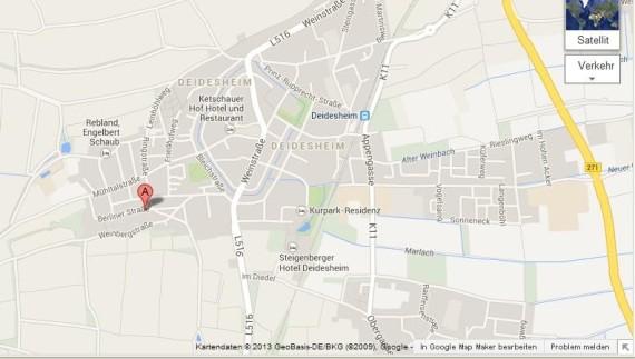 Google Maps, Anfahrtsskizze, Weg Praxis Deidesheim